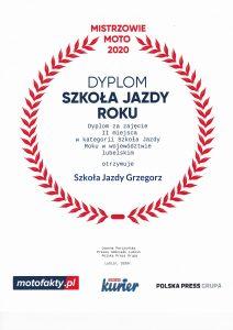 Szkoła Jazdy Grzegorz najlepsza w 2020 roku